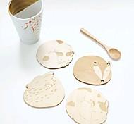 Недорогие -милый животных полые коврик деревянные резные Чашку подставки стол площадку магазин чайный бар чашка кофе (случайный)