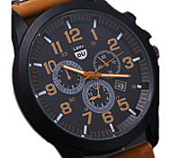 cheap -Men's Quartz Wrist Watch Military Watch Sport Watch Calendar / date / day Water Resistant / Water Proof Leather Band Cool Black Brown