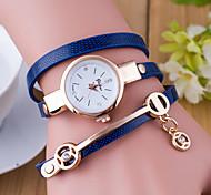 Damen Modeuhr Armband-Uhr Quartz Leder Band Schwarz Weiß Blau Rot Orange Grün