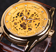 WINNER Men's Wrist watch Mechanical Watch Hollow Engraving Automatic self-winding Leather Band Luxury Black Brown