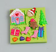Торт инструменты рождественская елка подарок дом fondant силиконовая плесень для тортов украшение цвет случайный