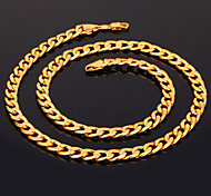 cheap -U7® Men's 18K Chunky Gold Filled Necklace High Quality Gold Plated Figaro Chains for Men 7MM 55CM 22inches Christmas Gifts