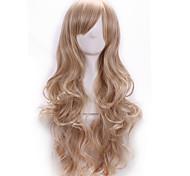 Недорогие -Искусственные волосы парики Естественные кудри Боковая часть С чёлкой Без шапочки-основы Карнавальный парик Парик для Хэллоуина Длинные