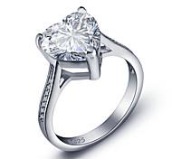 2016 Heart Luxurious Engagement Classic Diamond 925 Sterling Silver Wedding RingsImitation Diamond Birthstone