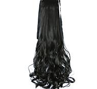 Недорогие -18 дюйм Черный На клипсе Кудрявый Прямой силуэт Конские хвостики Завязки Синтетический Волосы Наращивание волос