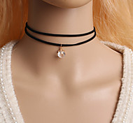 Women's Choker Necklaces Tattoo Choker Circle Zircon Cubic Zirconia Imitation Diamond Alloy Tattoo Style Fashion Simple Style