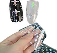 1шт 100 * 4cm прозрачно лазерные наклейки ногтей блеск поделки красивый цветок геометрический образ ногтей красоты lt09-12