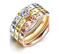 lureme® Classic Tricolor Stainless Steel with A Zircon Womens Girls Flower Carved Rings 3 Pcs A Set