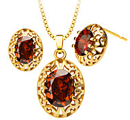 Austrian crystal Zircon Pendants Necklaces Earrings Set gifts For Women 18K Gold Plated Fashion Jewelry Sets S20105