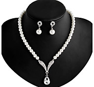 cheap -Women's Imitation Pearl / Rhinestone / Silver Plated Jewelry Set Earrings / Necklace - White Necklace / Earrings For Wedding / Party /