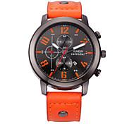 cheap -Men's Fashion Watch Quartz Calendar / date / day Casual Watch Leather Band Black Red Orange Brown