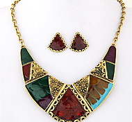 Women European Style Fashion Ethnic Color Block Geometric Necklace Earring Sets