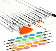 preiswerte -15pcs Nail Art Malerei Zeichenstift Pinsel mit 5pcs 2-Wege Marbleizing Zeichenstift-Werkzeug eingestellt