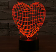3D LED Lamp Love Heart Shape Romantic Holiday Colorful Night Light Color-Changing Night Light
