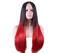 Harajuku черный красный ломбера парик Парики Pelo прямые натуральные синтетические парики ТЕРМОСТОЙКАЯ Хэллоуин Парик косплей парики