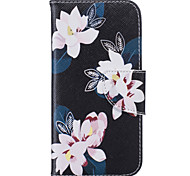 Black Lily Pattern Card Phone Holster for iPhone 5/5S/SE/6/6S/6 Plus/6S Plus
