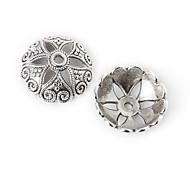 beadia 5pcs античные серебряные шарики сплава 20x7mm цветок разделительные бусины&бисер колпак