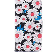 White Chrysanthemum Pattern Card Phone Holster for Samsung Galaxy G530/J3/J5/J510