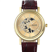Men's Fashion Round Leather Wristwatches Hollow Glass Analog Quartz Watch Casual Business Style