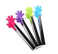abordables -1pcs pinzas estilo de palma de silicona para hornear la cocción de alimentos que sirve tenazas utensilio de hielo (color al azar)