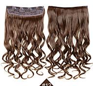 """Клип в синтетических наращивания волос 24 """"120g шелковистой волокна волос # 12 коричневый фигурные шиньон не волнистые не линять"""