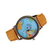 baratos -Homens Relógio Elegante Quartzo Quartzo Japonês Padrão Mapa do Mundo Relógio Casual Couro Banda Amuleto Preta Branco Marrom Cores