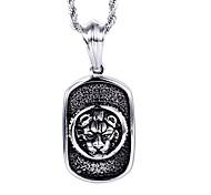 Kalen®Vintage Style Jewelry Men's Stainless Steel Lion Head Pendant Necklace