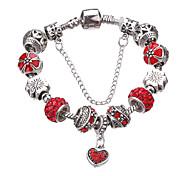 Antique Silver Plated Heart Pendant Beads Strands Bracelet   #YMGP1037