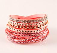 Women's Wrap Bracelet Leather Bracelet Bohemian Fashion Adorable Leather Rhinestone Imitation Diamond Alloy Geometric Jewelry Party Daily