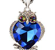 suéter cadeia de pedras mágicas ouro 18k / platina revestida colares bonitos da coruja& pingentes de instrução do presente da menina