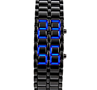 Unisex Men's Watch Blue LED Lava Style Faceless Watch Black Steel Band Wrist Watch Cool Watch Unique Watch Fashion Watch