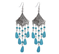 cheap -Women's / Girls' Flower Silver Plated / Turquoise - Tassel / Vintage / Bohemian Blue Earrings For Daily / Casual