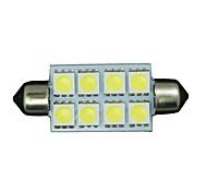 2 X PURE White 42MM 5050 Festoon Dome Map Interior LED Light bulbs 578 2112 6411