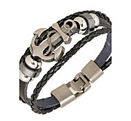 cheap -Punk Men's Bracelet PU Leather Bracelet Easy Hook Anchor for Men Fashion Jewelry Gifts