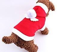 Коты Собаки Костюмы Толстовки Одежда для собак Зима Однотонный Милые Косплей Рождество Новый год Красный Розовый