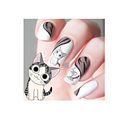 1pcs Designed Happy Cute Cat Pattern Water Decals Transfers Nail Art Salon Decor Stickers Tips DIY Decorations