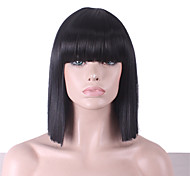 cheap -Synthetic Wig Straight Yaki Bob Haircut With Bangs With Bangs Black Women's Capless Half Capless L Part Monofilament Celebrity Wig Party