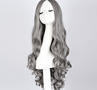 """Fashion Long Curly Smoke Gray Wig 28"""" Long Curly Blue Hair Wig Synthetic Anime Hair Cosplay Wigs for Women"""