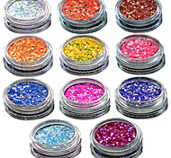1 Set Include 11 Bottles Nail Art Match Color Highlight Glitter Shining Colorful Powder Nail Makeup Beauty 01-11