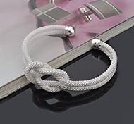 baratos -Mulheres Prata de Lei Bracelete Pulseiras Algema - Inspirador Adorável Ajustável Punk Redonda Prata Pulseiras Para Presentes de Natal