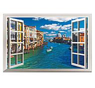 3D False Window Design Venice City Landscape 3D Wall Stickers Fashion PVC Living Room Bedroom Wall Decals