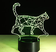 cheap -Cool Animal Light 3D Vision Walking Cat Night Light For Children Color Changing Bedroom Mood Baby Nightlight
