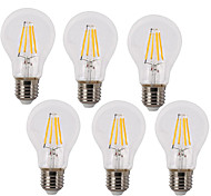 cheap -6pcs 4W 400 lm E26/E27 LED Filament Bulbs A60(A19) 4 leds COB Waterproof Decorative Warm White Cold White AC 220-240V