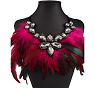 Women's Pendant Necklaces Drop Crystal Rhinestone Feather Nylon Sexy Fashion European Statement Jewelry Costume Jewelry Jewelry For