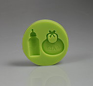 baratos -3d acessórios para o bebê bib garrafa de silicone bolo decoração molde bebê aniversário cor aleatória