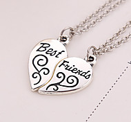cheap -2pcs/set Women Men Best Friends Silver Plated Necklace Best Friends Broken Heart Pendant Necklaces Jewelry Gifts