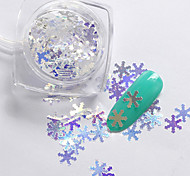 2g/box New Symphony Blue Christmas Snowflake/Love/Mickey Paillette Glitter Nails 3d Slice Powder Set DIY Design