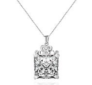 baratos -Feminino Gargantilhas Colares com Pendentes Quadrado Forma Geométrica Strass Aço Titânio imitação de diamante Liga Adorável Personalizado