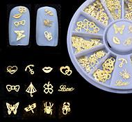 Недорогие -60pcs diy 3d gold наклейки искусства искусства ногтей советы штемпелюя наклейки маникюра