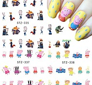Nail Art Sticker Water Transfer Cartoon Fox Rabbit Pink Pig Cute Animals Cartoon Designs DIY Manicure Decal STZ331-341